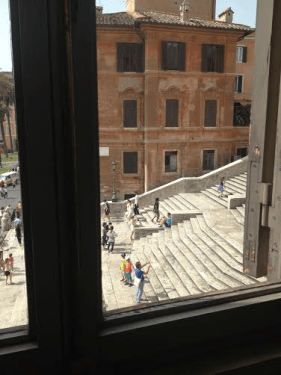 Looking out from Keats and Shelley's house at the Spanish Steps in Rome. His last view.