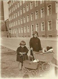 Two little girls in Copenhagen in the 1940s