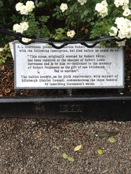 The memorial plaque on Fergusson by Stevensson at the Canongate Kirkyard