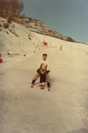 Ulf taking my youngest down a hill