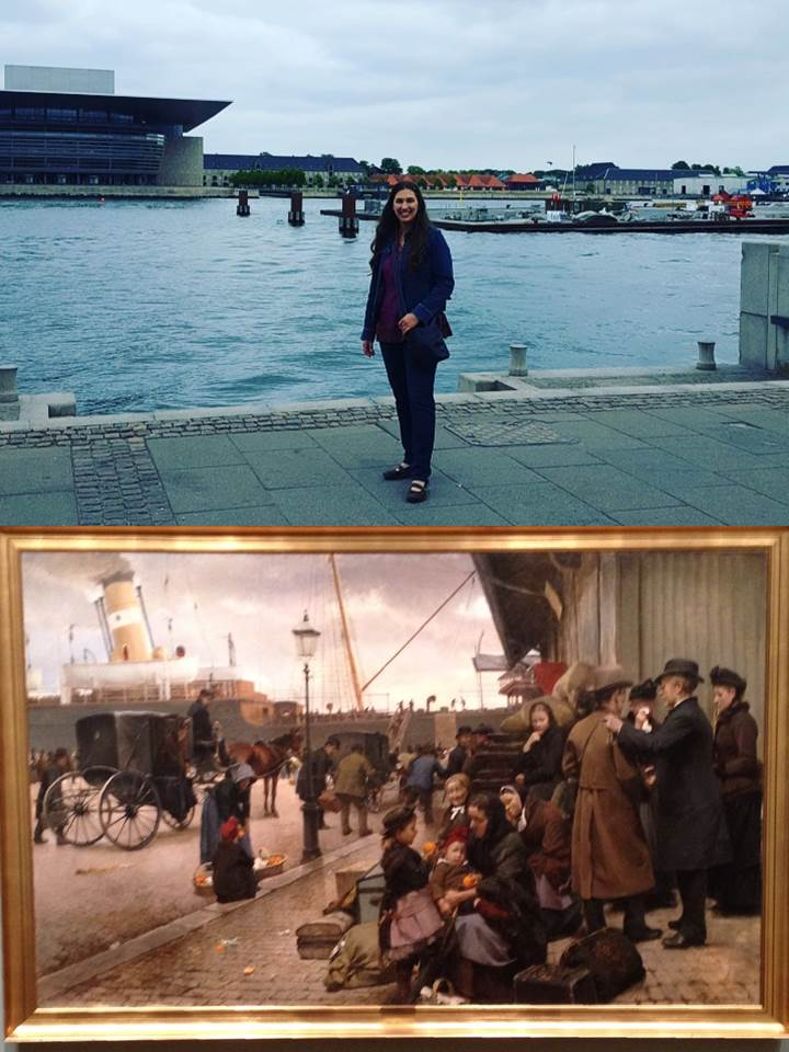 Leah at Larsen's Square Copenhagen where her ancestors left their old country more than a hundred years ago