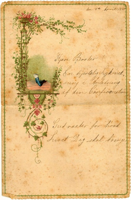 A greeting from his sister Caroline for his Confirmation 1880