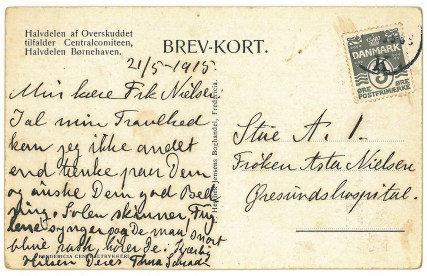 Asta's principal Thea Schroeder's get-well card in May 1915