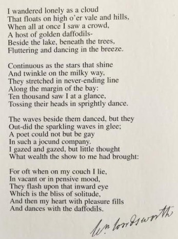 Daffodils. The poem on a post card from Wordsworth' Dove cottage in the Lake District