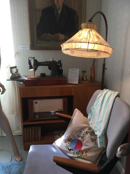 interior from the 1950s with a sewing machine