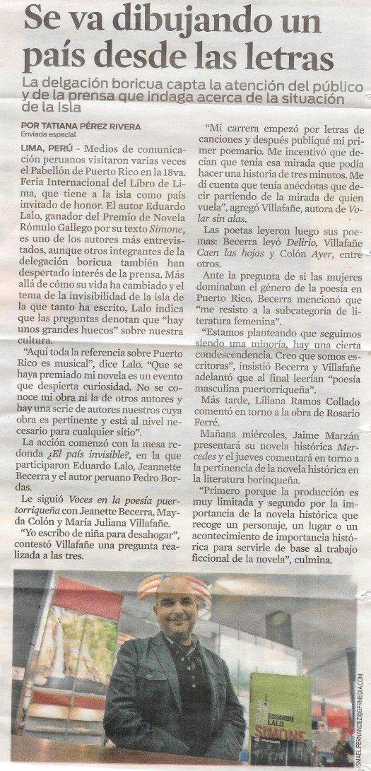 Artículo del Periódico El Nuevo Día de Puerto Rico, 23 de julio 2013