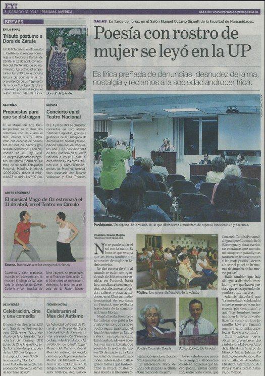 Artículo de la periodista Rosalina Orocú Mojica del periódico Pamamá América