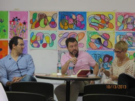Juan Gabriel Vázquez, Diego Fonseca y Leticia Vázquez.