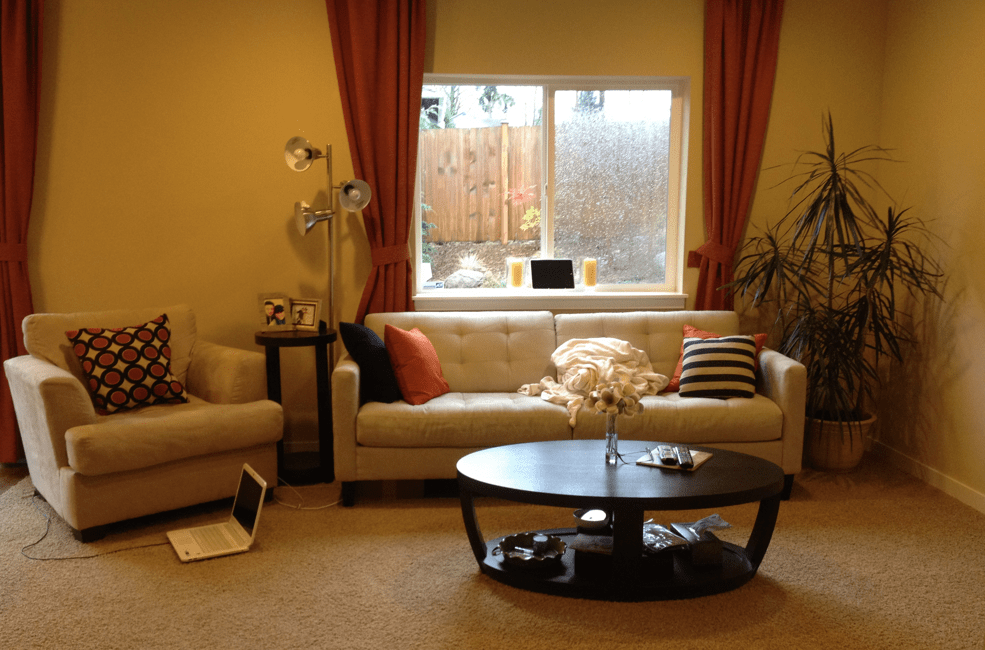 A Happy Yellow Living Room Before  After  Maria Killam