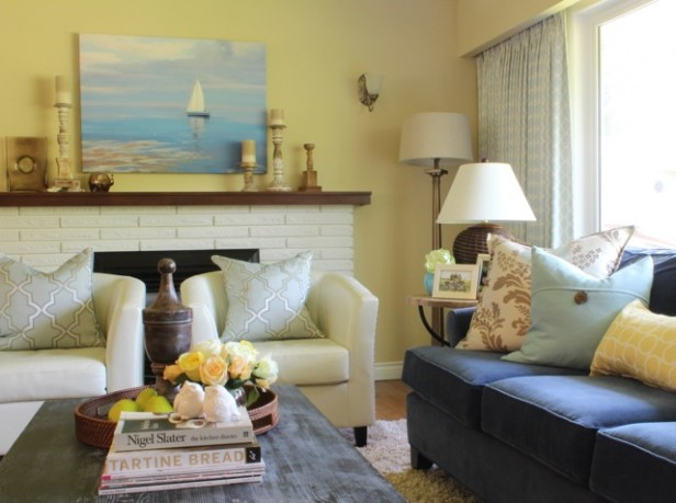 Anitas Pink Beige  Yellow Living Room Before  After