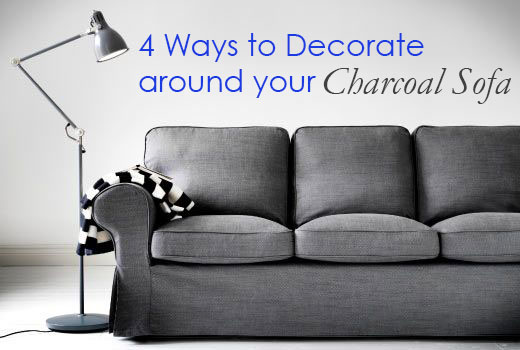light grey sofa with dark carpet metal table tile top 4 ways to decorate around your charcoal maria killam the charcoalsofa