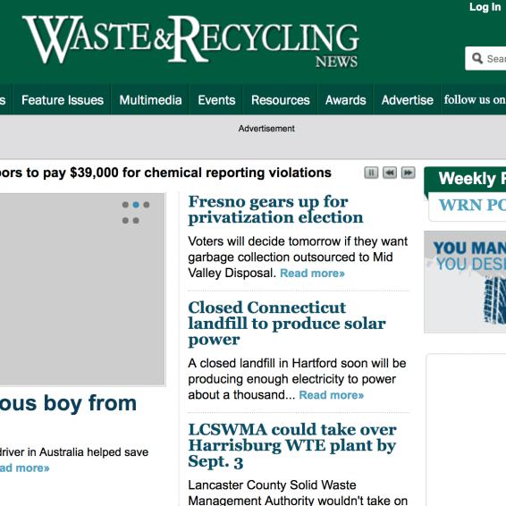 Waste & Recycling News website 2012