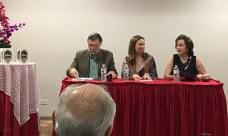 El escritor Enrique Jaramillo Levi, la escritora Beatriz Valdés
