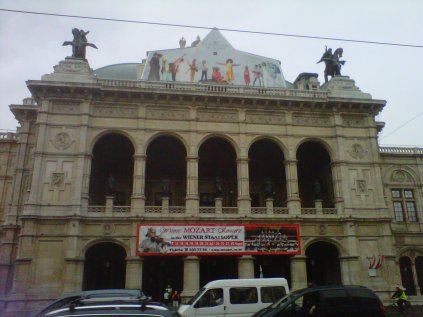 Opera House in Vienna, with a Mozart concert playing