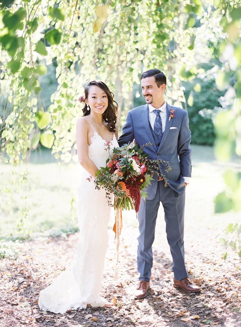 Morris Arboretum Wedding photo portrait of Alice and Alex