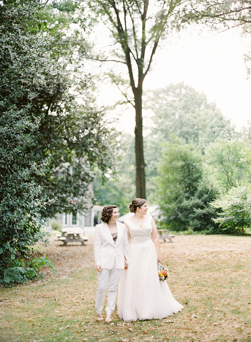 Awbury Arboretum Wedding, Rachel + Alyssa, Maria Mack Photography, bride and bride portrait, contax 645, fine art film wedding photography