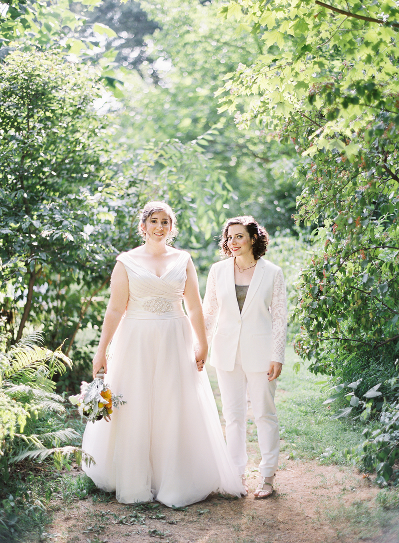 Film image of bride and bride at Awbury Arboretum