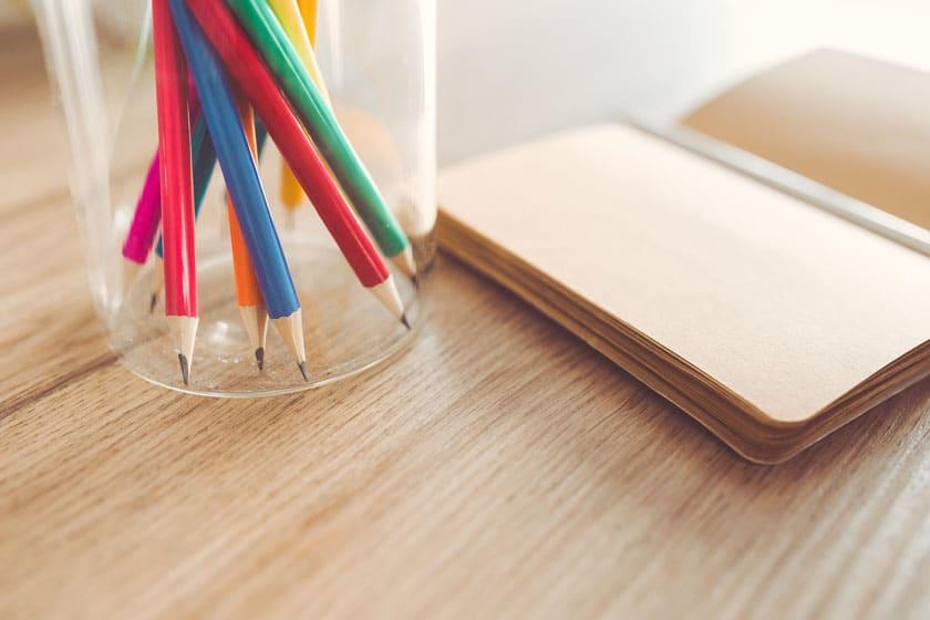 Establishment desk with pencils.