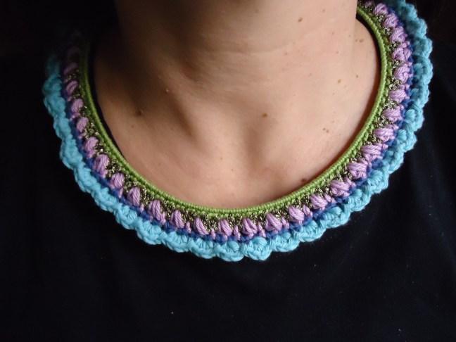 verde, lilas y azules, algodón