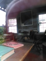 Inside the school, taken through the winder.