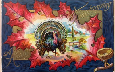 Grandma's 3 Thanksgiving Postcards: Red Leaf, Cheery Harvest, Shakespeare Quote
