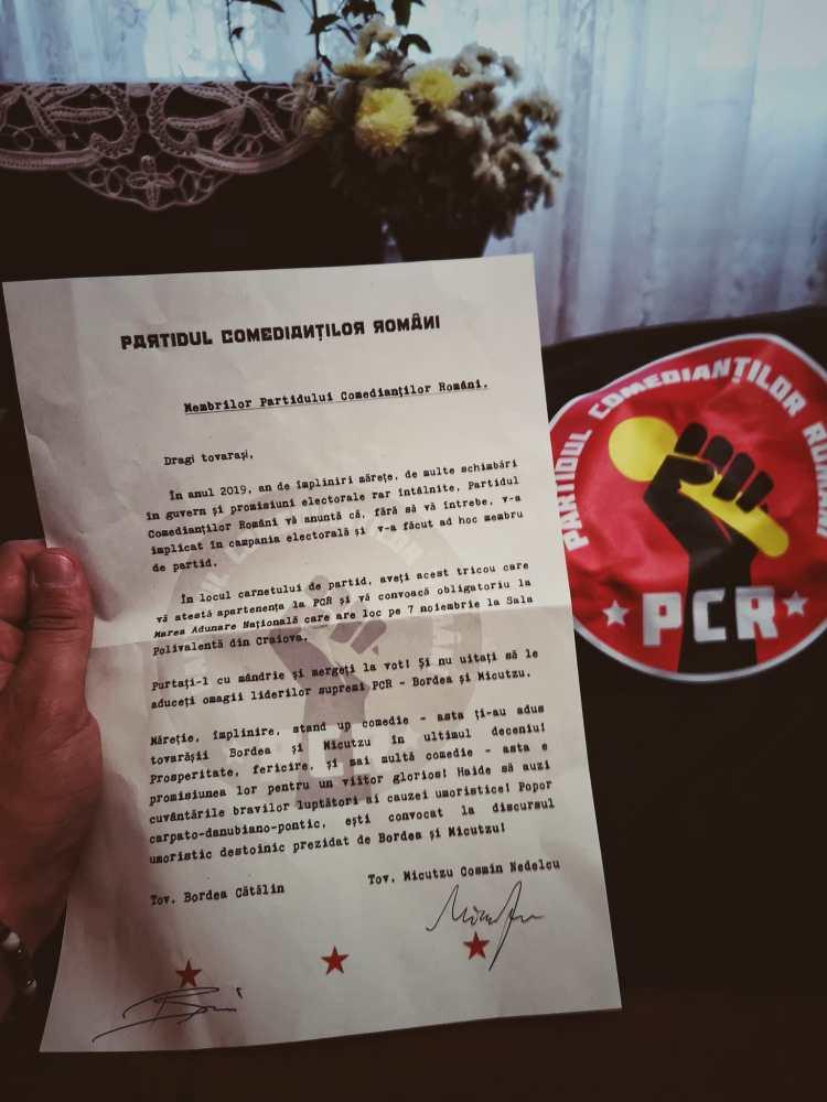 Comunicat oficial de adeziune la Partidul Comedianților Români
