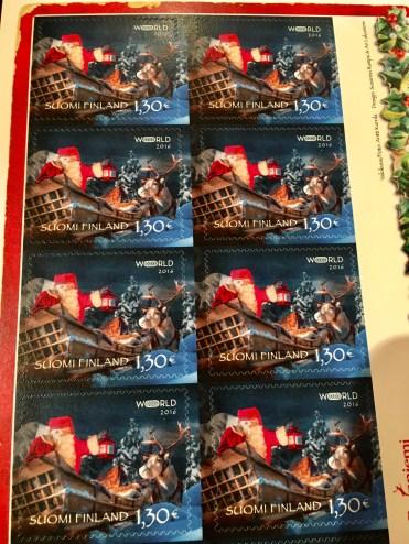 Beautiful Santa postal stamps
