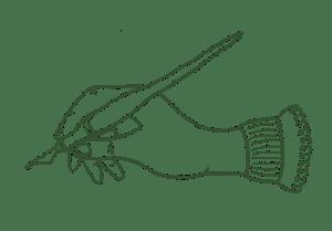Hand som skriver med gammaldags bläckpenna