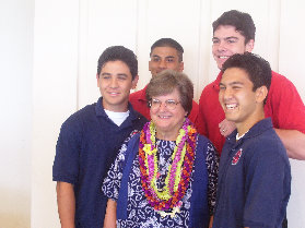 Sr. Helen Prejean, CSJ, (surrounded by Saint Louis School students) March 11, 2007