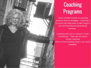 Marian Madonia offers two types of coaching programs. One is a group program, the second is one on one