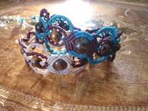 Macramé bracelets with semi-precious beads