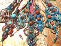 Macramé necklaces with semi-precious beads