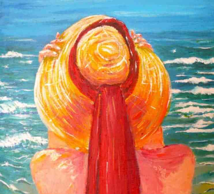 Straw hat, acrylic on canvas by © MariAnna MO Warr