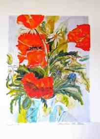 Poppies, Art limited edition print, original watercolor, large size by © MariAnna MO Warr