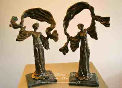 Muses, bronze, serpentine, brown patina by © MariAnna MO Warr