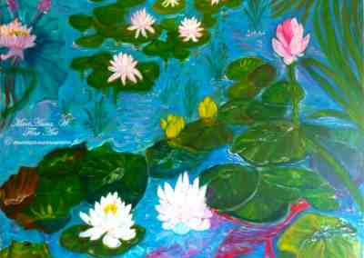 Water lilies, acrylic on canvas by © MariAnna MO Warr