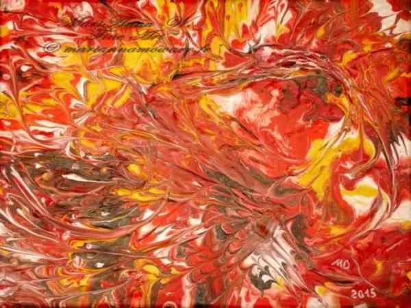 Fire-bird, acrylic on canvas by © MariAnna MO Warr