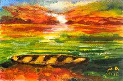 Sundown, watercolor, original greeting card by @ MariAnna MO Warr