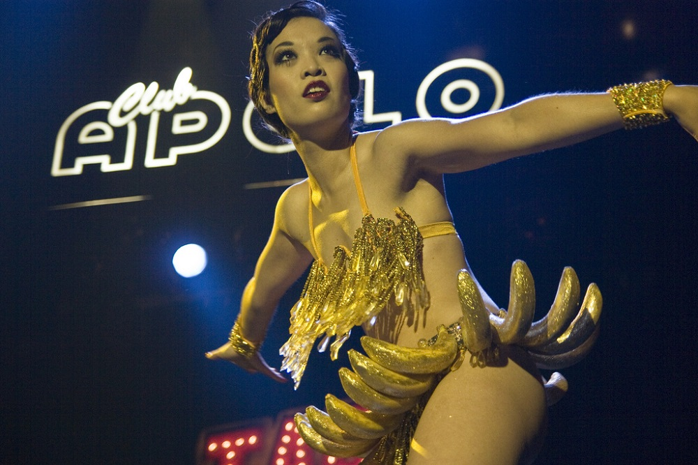 Marianne Cheesecake is performing her Josephine Baker tribute act - 'la danse banane' (banana dance).