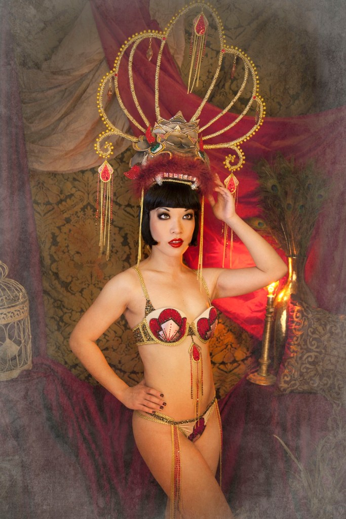 Marianne Cheesecake as Anna May Wong in her Dragon Lady act. Photo by Anna Swiczeniuk.