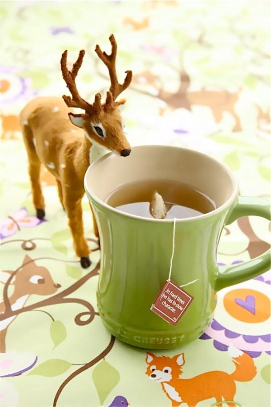 """Ingeniørfruen – Marianne de Bourg drikker te og leser visdomsord på teposen. """"In hard times one has to show character"""" er dagens filosofiske betrakning."""