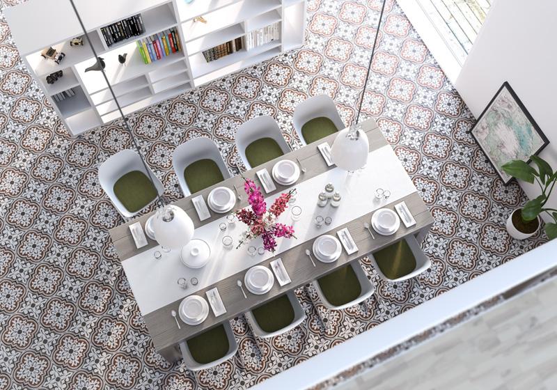 Marokkoinspirerte gulv fås som både laminat, vinyl og fliser. Keramisk flis Empoli fra Golvabia