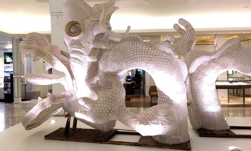 Ai Weiwei's Dragon in Four Parts at Le Bon Marché.