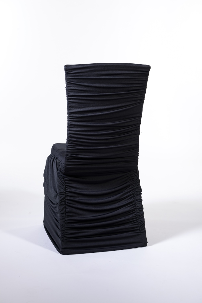 ruched spandex chair cover all purpose salon chairs marianne s rentals black