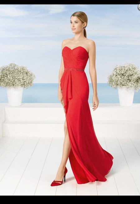 vestido de fiesta rojo,Vestido de madrina en rojo