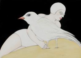 Mujer y pájaro blanco 70 x 50 cm