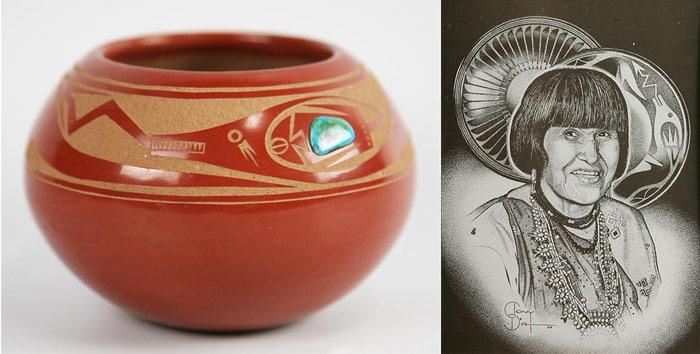 Tony Da pottery and painting of Maria Martinez