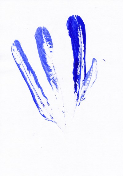 Once the feather had lost some paint I pressed it onto the paper a few more times.