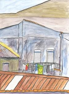 Balcony and laundry line, Carino.