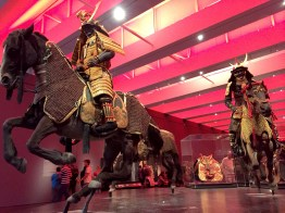 """The wow factor of the exhibition display and objects displayed in the temporary exhibition """"Samurai: Japanese Armor from the Ann and Gabriel Barbier-Mueller Collection"""" at LACMA in 2015."""